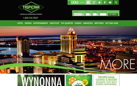 Screenshot of Home Page tropicana.net - Tropicana Casino & Resort Atlantic City – Atlantic City HotelsHome - Tropicana Casino & Resort Atlantic City - Atlantic City Hotels - captured Sept. 19, 2014
