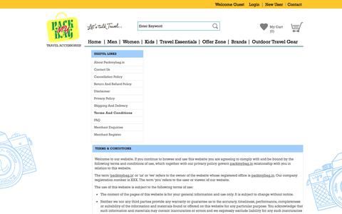 Screenshot of Terms Page packmybag.in - Terms and Conditions - captured Oct. 27, 2014