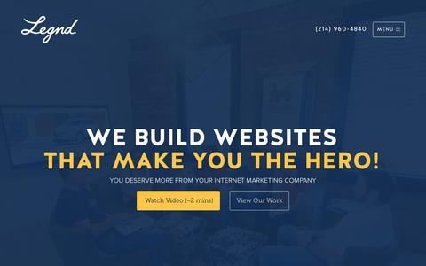 Screenshot of Home Page legnd.com - Web Design, SEO, & Internet Marketing   Legnd - captured Feb. 22, 2020