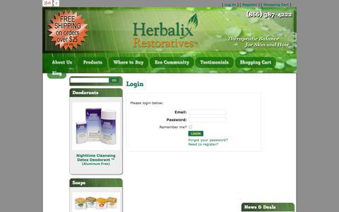 Screenshot of Login Page herbalix.com - Herbalix Restoratives - captured Oct. 2, 2014