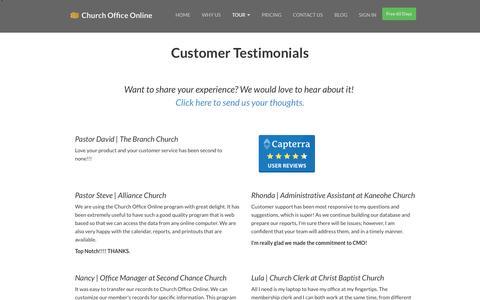 Screenshot of Testimonials Page churchofficeonline.com - Testimonials | Church Office Online - captured Sept. 24, 2014