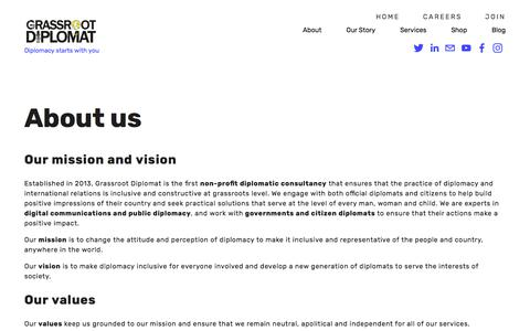 Screenshot of About Page grassrootdiplomat.org - About — Grassroot Diplomat - captured July 23, 2018