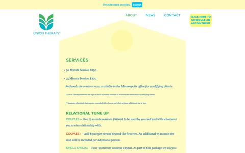 Screenshot of Services Page uniontherapy.com - services - Union Therapy - captured Oct. 20, 2018
