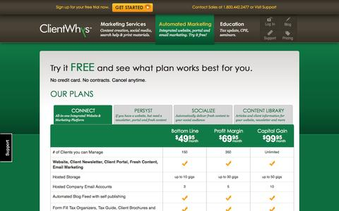 Screenshot of Pricing Page clientwhys.com - ClientWhys Marketing Automation and Website Pricing Page - captured Oct. 1, 2014