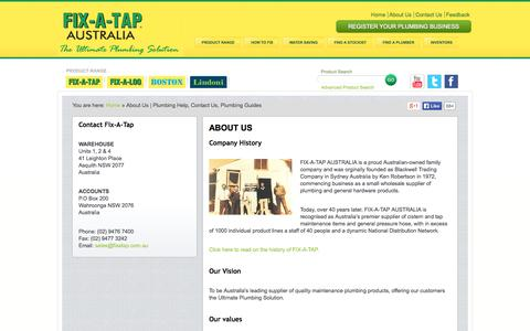 Screenshot of About Page fixatap.com.au - About Us | Plumbing Help, Contact Us, Plumbing Guides - Fix A Tap - captured Sept. 23, 2014