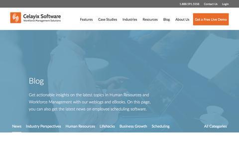 Screenshot of Press Page celayix.com - News | Blog | Employee Scheduling Online | Celayix Software - captured July 16, 2017