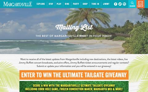 Screenshot of Signup Page margaritaville.com - Margaritaville | Mailing List - captured Jan. 26, 2017