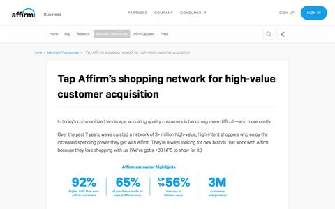 Screenshot of Case Studies Page affirm.com - Tap Affirm's shopping network for high-value customer acquisition - captured Dec. 4, 2019