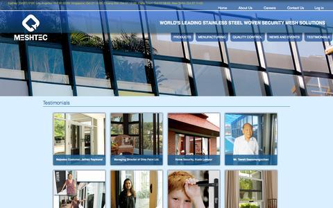 Screenshot of Testimonials Page meshtec.com - Testimonials   security mesh,security door, security window , security screen - captured Oct. 27, 2014