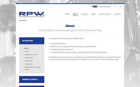 Screenshot of About Page rpwinc.net - Reliable Plating Works     About - captured Oct. 26, 2014