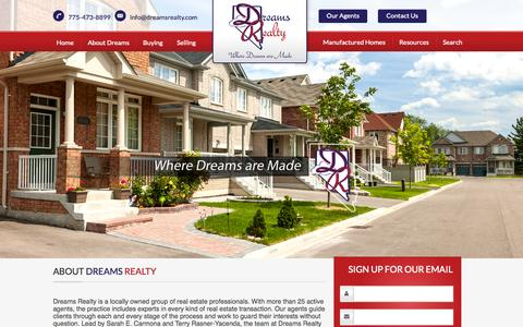 Screenshot of Home Page terryrasner.com - Reno Real Estate Company by Dreams Realty: Reno Residential Realtor Company - captured Sept. 12, 2015