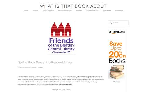 Screenshot of Blog whatisthatbookabout.com - WITBA Blog — What Is That Book About - captured Feb. 20, 2016