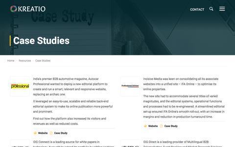 Screenshot of Case Studies Page kreatio.com - KREATIO - Case Study - captured Oct. 16, 2017