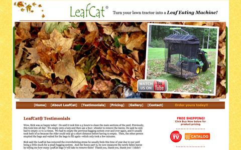 Screenshot of Testimonials Page leafcat.com - about our Leaf Eating Machine | buy online - captured Oct. 2, 2014