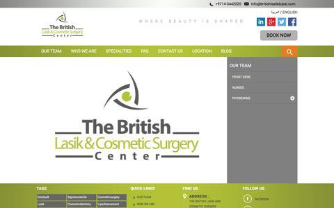 Screenshot of Team Page britishlasikdubai.com - FRONT DESK - captured Feb. 8, 2016