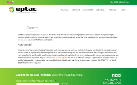 Screenshot of Jobs Page eptac.com - Careers | EPTAC - captured Nov. 28, 2017