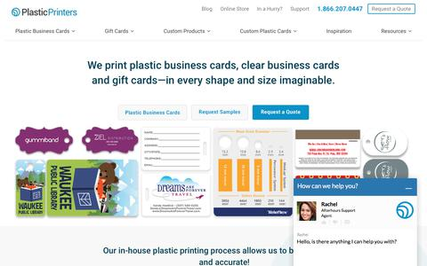 Screenshot of Home Page plasticprinters.com - Plastic business cards, clear business cards & plastic cards - captured March 16, 2018