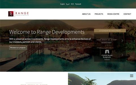 Screenshot of Home Page rangedevelopments.com - Welcome to Range Developments - captured Aug. 16, 2015