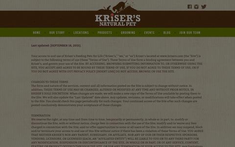 Screenshot of Terms Page krisers.com - Terms | Natural Pet Store | Kriser's - captured Jan. 26, 2016