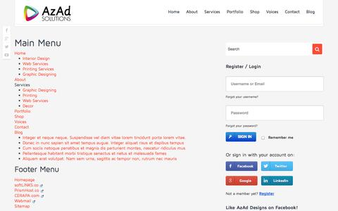 Screenshot of Site Map Page azad.co - Sitemap - AzAd Solutions - captured Oct. 4, 2014