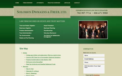 Screenshot of Site Map Page sdfnvlaw.com - Site Map   Solomon Dwiggins & Freer, Ltd.   Las Vegas, Nevada - captured Oct. 26, 2014