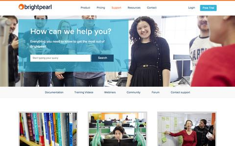 Screenshot of Support Page brightpearl.com - Support | Brightpearl - captured June 16, 2015