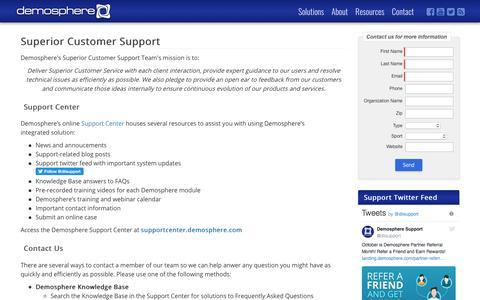 Screenshot of Support Page demosphere.com - Superior Customer Support | Demosphere - captured Sept. 30, 2017