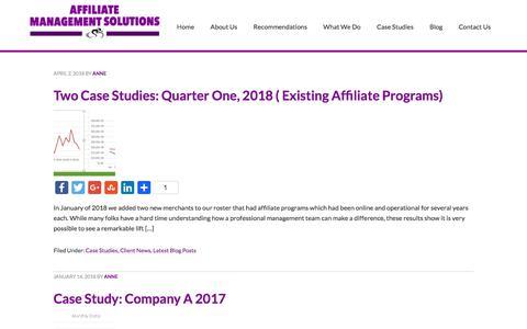 Screenshot of Case Studies Page affiliatemanagementsolutions.com - Outsourced Affiliate Program Management Case Studies - captured July 10, 2018