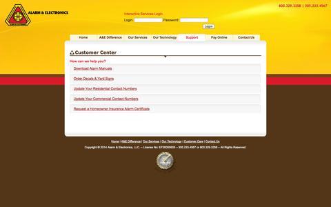 Screenshot of Support Page alarmandelectronics.com - Alarm & Electronics LLC - Customer Care - captured Oct. 4, 2014