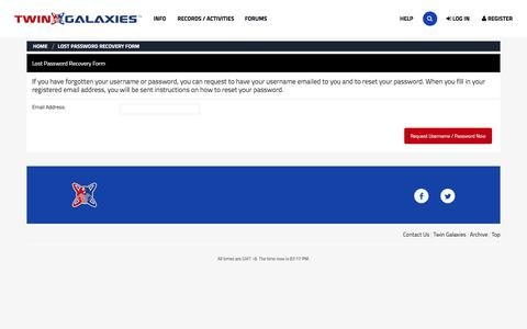 Screenshot of Login Page twingalaxies.com - Lost Password Recovery Form - Twin Galaxies Forum - captured July 1, 2017