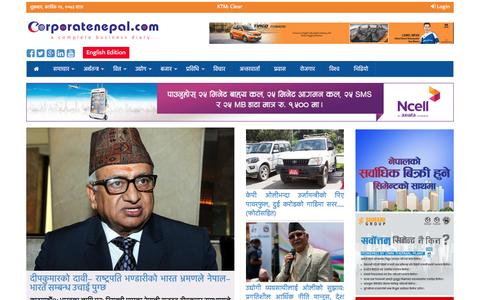 Screenshot of Home Page corporatenepal.com - Corporatenepal.com – Popular News Portal Of Nepal, Economic News, Business News, Political, Social, Finance, Industries, Markets, Technologies, Mobile, Sports, Video, Interview, Opinion, Entertainment. - captured Nov. 11, 2016