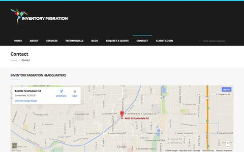 Screenshot of Contact Page inventorymigration.com - Inventory Migration | Contact Us Today! | Inventory Migration - captured Sept. 30, 2014