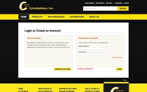 Screenshot of Login Page cytoskeleton.com - Customer Login - captured Oct. 3, 2014