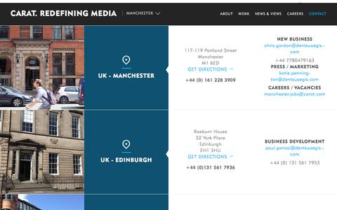 Screenshot of Contact Page carat.com - Contact | Manchester - captured July 11, 2016