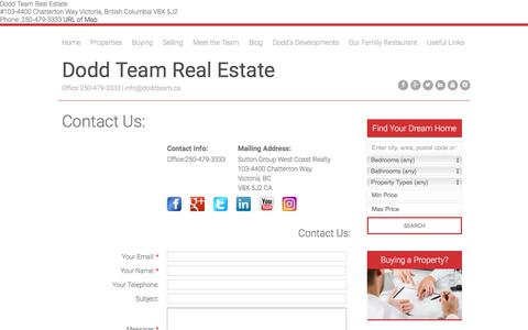 Screenshot of Contact Page doddteam.ca - Dodd Team Real Estate - Award Winning REALTOR®s In Victoria BC : Contact Us - captured Oct. 12, 2017