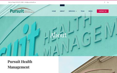 Screenshot of About Page pursuithealth.ca - About - Pursuit Health Management - captured Sept. 30, 2018