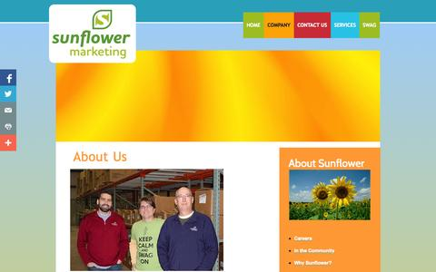 Screenshot of About Page sunflowermarketing.com - About Us - captured Sept. 26, 2014