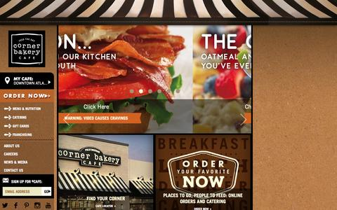 Screenshot of Home Page cornerbakerycafe.com - Corner Bakery Cafe® - neighborhood restaurant - Catering - Free WiFi - captured Sept. 23, 2014