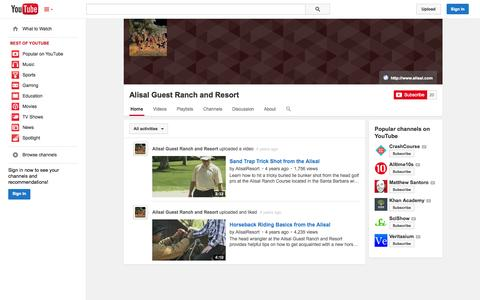 Screenshot of YouTube Page youtube.com - Alisal Guest Ranch and Resort  - YouTube - captured Oct. 30, 2014