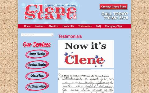 Screenshot of Testimonials Page getaclenestart.com - Testimonials | Get a Clene Start - captured Oct. 2, 2014