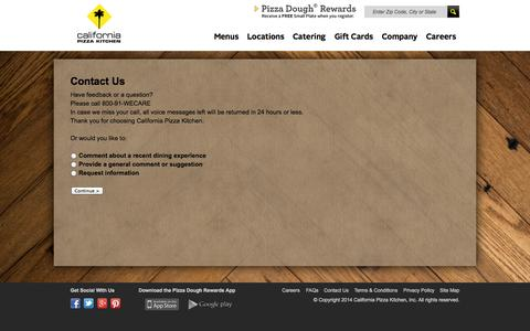 Screenshot of Contact Page cpk.com - California Pizza Kitchen - captured Sept. 23, 2014