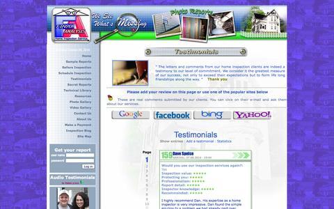 Screenshot of Testimonials Page final-analysis.com - Home inspection Reviews - captured Oct. 5, 2014