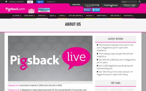 Screenshot of About Page pigsback.com - About Us » Pigsback.com – Save up to 55% on hotels, restaurants and spas - captured Sept. 19, 2014