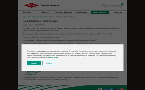 Screenshot of Press Page dowagro.com - New 2,4-D label spray drift instructions - captured Oct. 20, 2018