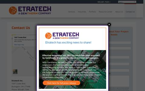 Screenshot of Contact Page etratech.com - Contact Us | Etratech - captured Dec. 15, 2018