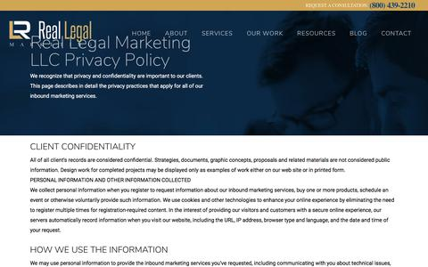 Screenshot of Privacy Page reallegalmarketing.com - Privacy Policy - Real Legal Marketing - Law Firm Web Design, Attorney SEO & SMO - captured June 12, 2017