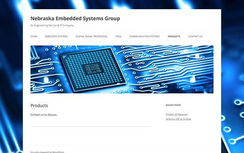 Screenshot of Products Page ne-esg.com - Products - Nebraska Embedded Systems Group - captured July 8, 2018
