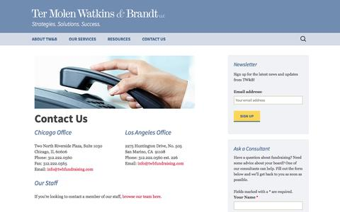 Screenshot of Contact Page twbfundraising.com - Contact Us | Ter Molen Watkins & Brandt - captured Nov. 3, 2014