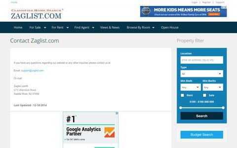 Screenshot of Support Page zaglist.com - Contact Zaglist.com - captured June 11, 2016