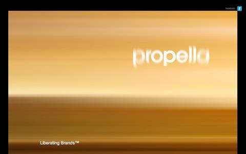 Screenshot of Home Page propellabranding.com - Propella   Liberating Brands™ - captured Oct. 3, 2014
